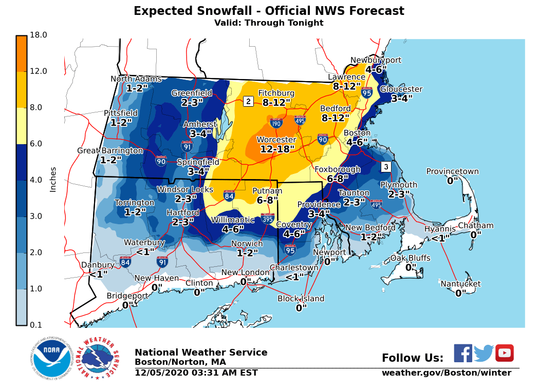 Parts of Massachusetts to see up to 9 inches of snow and winds up